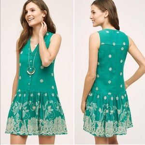 Anthropologie Maeve Pippa Embroidered Swing Dress